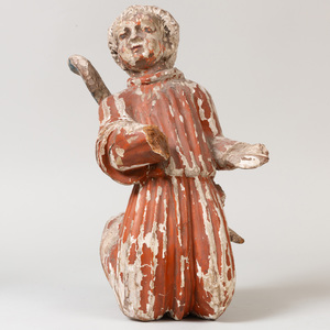 South German Polychrome Carved Wood Figure of an Angel