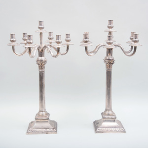 Pair of German Silver Seven-Light Candelabra