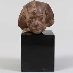 Egyptian Style Carved Stone Head of a Pharaoh