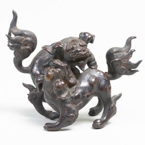 Japanese Bronze Figure of Playful Shishi