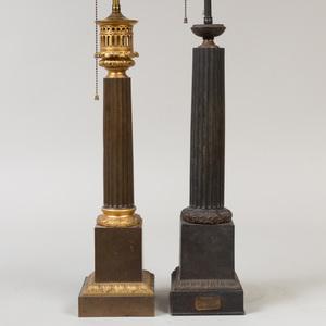 Carcel Tôle Columnar Lamp and a Parcel-Gilt Tôle Columnar Lamp