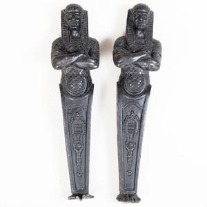 Pair of Neo-Egyptian Cast-Iron Caryatids