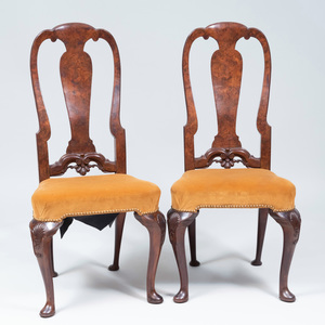 Pair of Queen Anne Style Burl-Walnut and Walnut Side Chairs