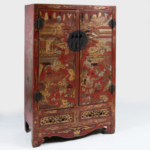 Chinese Metal-Mounted Red Lacquer and Parcel-Gilt Cabinet