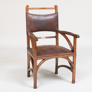 French Art Nouveau Walnut Armchair