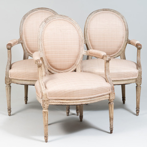 Assembled Set of Three Louis XVI Painted Fauteuils en Cabriolet