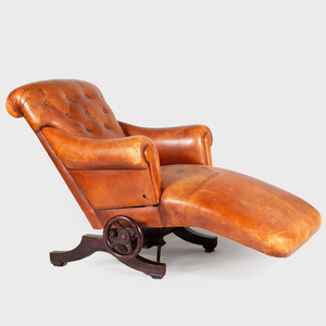 Unusual French Leather and Stained Wood Reclining Chaise Lounge