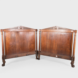 Directoire Carved Mahogany Headboard and Footboard
