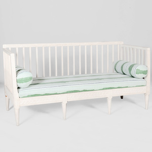 Swedish Neoclassical White Painted Settee