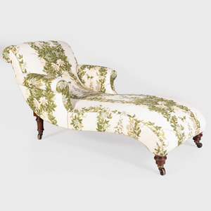 Victorian Mahogany and Linen Upholstered Chaise Lounge
