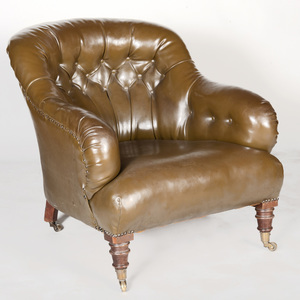 Victorian Style Green Tufted Leather and Mahogany Club Chair