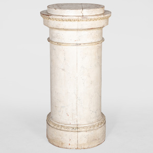 Neoclassical White Faux Marble Painted Pedestal