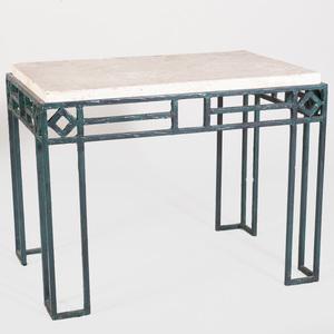Modern Green Painted Metal Side Table
