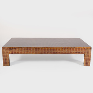 Modern Brown and Gold Lacquer Low Table