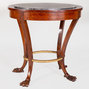Continental Neoclassical Mahogany and Parcel-Gilt Oval Guéridon, Possibly Danish