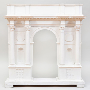 Italian Plaster and Painted Wood Model of a Triumphal Arch