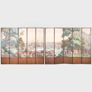 Zuber Mahogany Ten Panel Screen with Panoramic Boston Harbor Scenic Wallpaper Panels