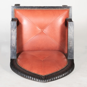Anglo-Indian Carved and Stained Hardwood Throne Chair