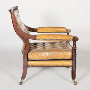 Late George IV Mahogany and Leather Upholstered Library Armchair