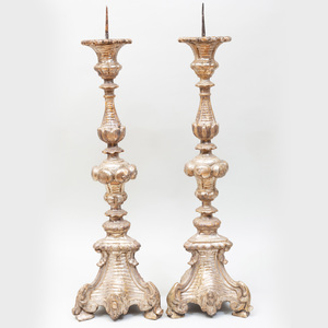 Pair of Italian Silver-Gilt Pricket Sticks