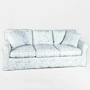 Floral Linen Upholstered Three Seat Sofa