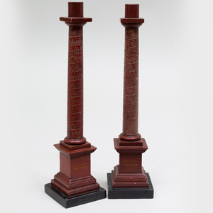 Pair of Italian Marble Table Top Columns, probably Grand Tour
