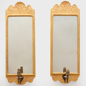 Pair of Queen Anne Style Giltwood Girandole Mirrors, Modern