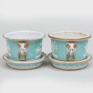Pair of English Porcelain Turquoise Ground Cachepots and Stands