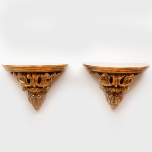 Pair of Large Giltwood D-Shaped Brackets