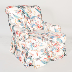 Chintz Upholstered Swivel Club Chair
