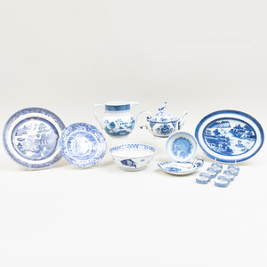 Miscellaneous Group of Blue and White Porcelain Kitchen Wares