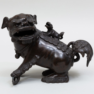 Chinese Bronze Fu Dog Incense Burner
