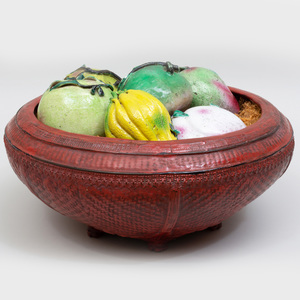 Indonesian Red Painted Woven Reed Bowl