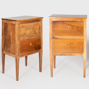 Pair of Italian Neoclassical Walnut Bedside Tables
