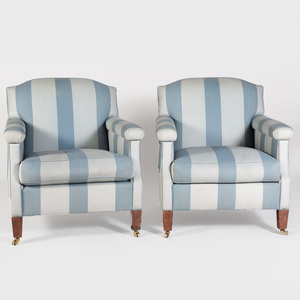 Pair of Cotton Blue Striped Upholstered Club Chairs