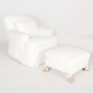Cotton Slip Covered Club Chair and Ottoman