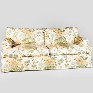 Floral Linen Upholstered Sofa