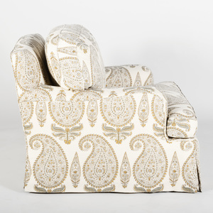 Paisley Linen Slip Cover Upholstered Club Chair