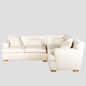 Modern Cream Linen Upholstered Sectional Sofa