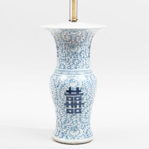 Chinese Blue and White Porcelain Baluster-Shaped Lamp