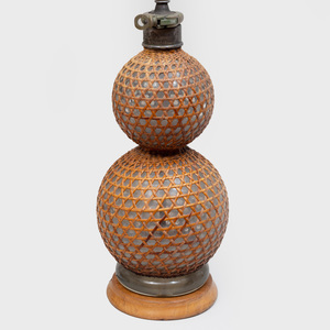 English Wicker and Glass Double Gourd Lamp