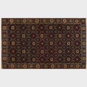 Small Burgundy Floral Rug