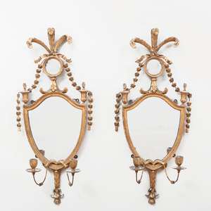 Pair of George III Giltwood Two-Light Girandole Mirrors