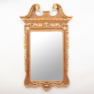 George II Style Mahogany and Parcel-Gilt Mirror
