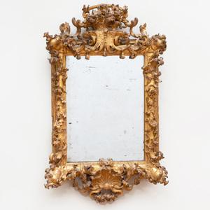 Small Northern Italian Rococo Giltwood Mirror