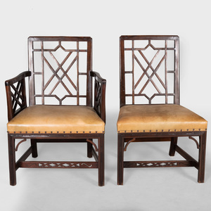 Set of Eight George III Style Mahogany and Leather Dining Chairs