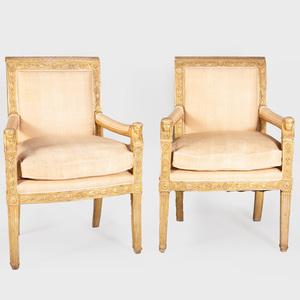 Near Pair of Empire Style Giltwood Fauteuils à la Reine