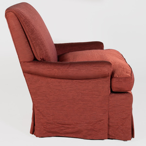 Maroon Upholstered Swivel Club Chair