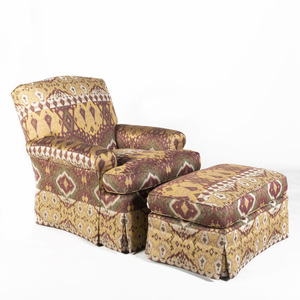 Upholstered Club Swivel Chair and Matching Ottoman