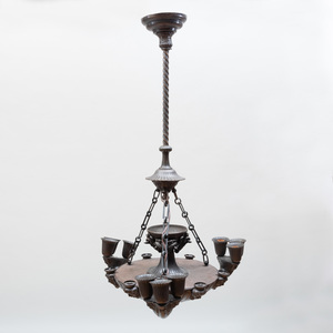 William IV Bronze Nine-Light Chandelier